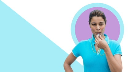 Digital composite of Fitness trainer woman with minimal shapes and whistle