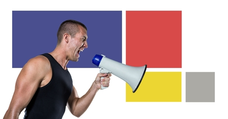 Digital composite of Fitness trainer man with minimal shapes and megaphone