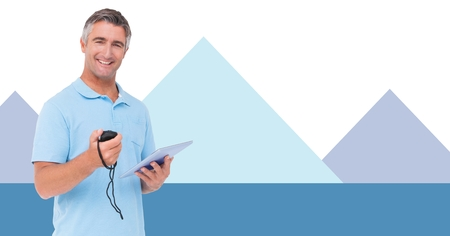 Digital composite of Fitness trainer man with minimal shapes holding stopwatch and charts Stock Photo