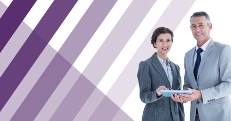 Digital composite of Business people with tablet and striped background