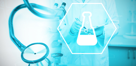 Digital background with chemical sign  against blue stethoscope