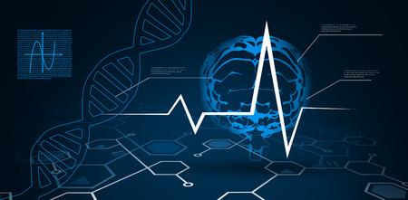 Fondo digital con cerebro y ADN Helix Foto de archivo - 89784503