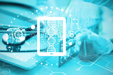 Digitally generated of heartbeat on digital tablet against stethoscope on digital tablet