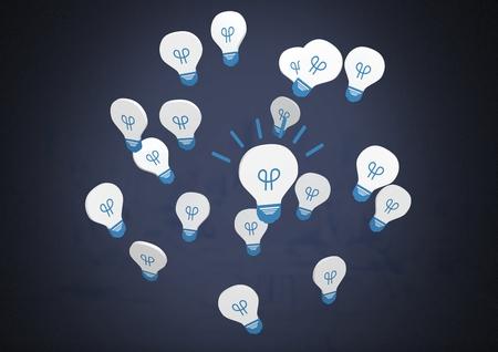 Digital composite of Idea light bulb app icons and dark background Stock Photo