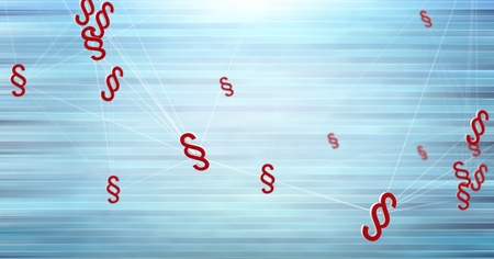 Digital composite of section symbol icons connected with blue background