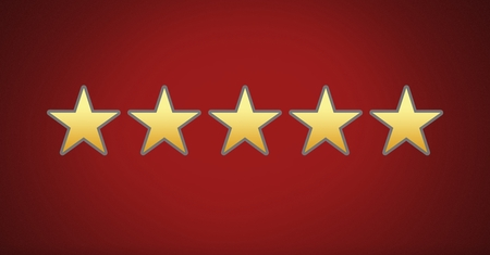 Digital composite of five star rating review Stock Photo