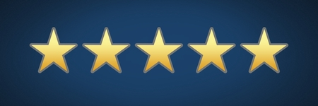 Digital composite of five star rating review stars