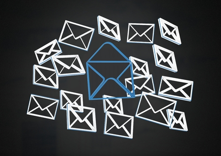 Digital composite of Email message app icons and dark background