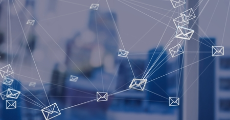 Digital composite of 3D email message connected icons with blue background