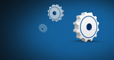 Digital composite of 3D cogs icon with blue background