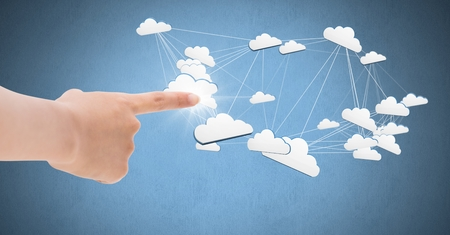 Digital composite of Hand touching 3D connected cloud icons