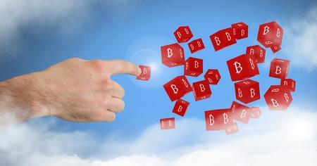 Bitcoin シンボル アイコンに触れる手のデジタル合成 写真素材