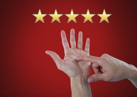 Digital composite of Hand counting five star rating review