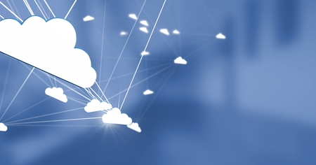 Digital composite of 3D cloud connected icons with blue background