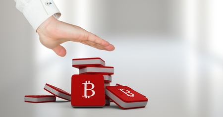 Digital composite of Hand open with bitcoin symbol icons Stock Photo