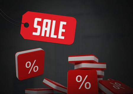 Digital composite of Sale tag with percent symbol icons Imagens