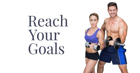 Digital composite of Reach your goals text and fitness couple lifting weights