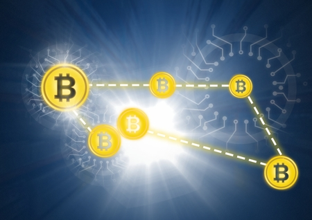 Digital composite of Bitcoin icons in network connecting Stock Photo