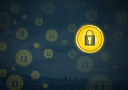Digital composite of Security lock icons Stock Photo