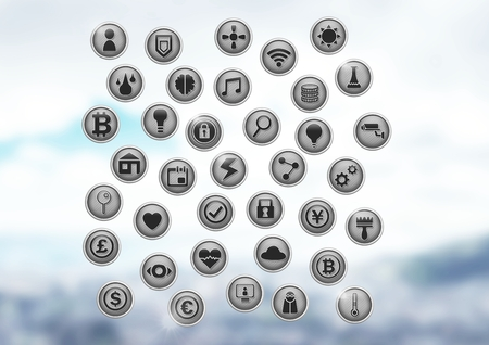 Digital composite of Various app icons in city office Stock Photo