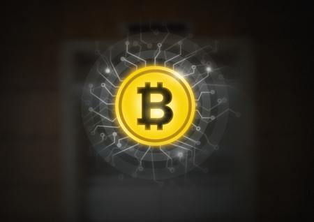 Composito digitale di icona grafica bitcoin con circuiti di energia Archivio Fotografico - 93002581