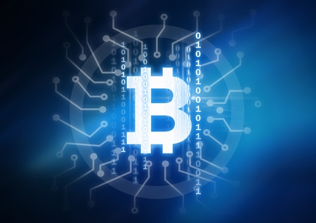 Digital composite of bitcoin graphic icon and binary code circuits