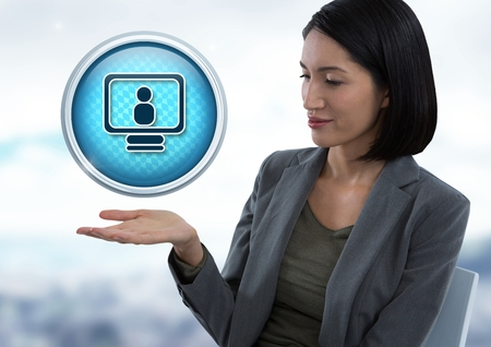 Digital composite of Computer profile icon and Businesswoman with hand palm open in city office