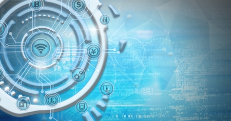 Digital composite of Futuristic business icons technology interface Stock Photo
