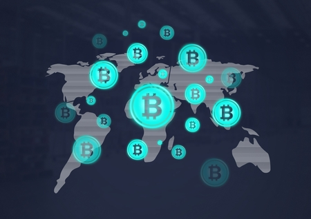 Digital composite of bitcoin graphic icons on world map Banco de Imagens