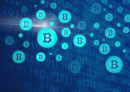 Digital composite of bitcoin graphic icons and binary code Stock Photo