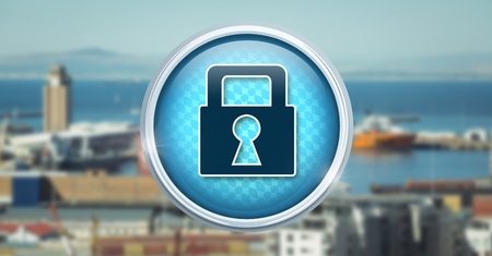 Digital composite of Security lock icon in city port harbor