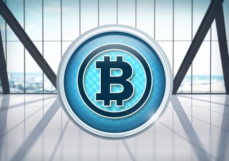 市役所のビットコインアイコンのデジタルコンポジット