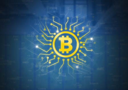 Digital composite of Bitcoin icon with circuit energy graphics Stock Photo