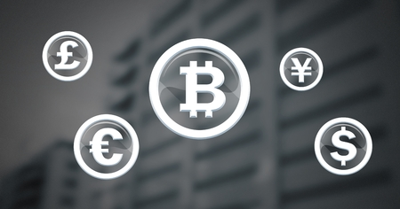 Digital composite of international money currency icons in glass circles with bitcoin Stock Photo