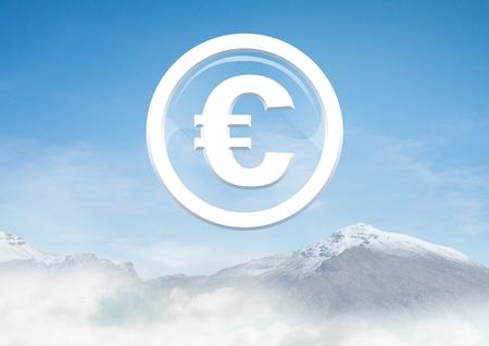 Digital composite of Euro glass circle icon over snow mountain Stock Photo
