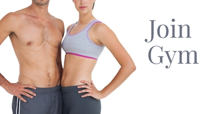 Digital composite of join gym text and fitness couple