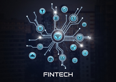 Digital composite of Fintech with various business icons interface in city