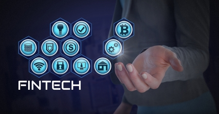 Digital composite of Businesswoman with hands palm open and Fintech with various business icons