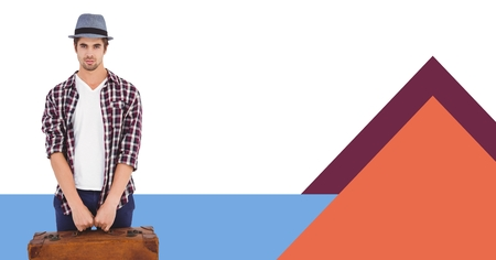 Digital composite of man holding briefcase with minimal shapes