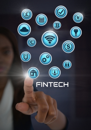 Digital composite of Businesswoman touching Fintech with various business icons