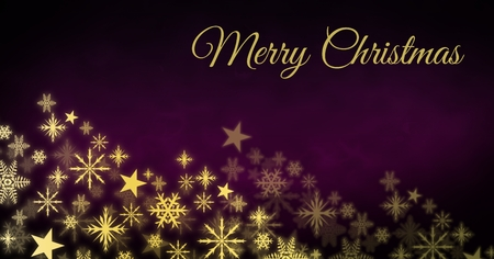 Digital composite of Merry Christmas text and Snowflake Christmas pattern