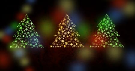 Digital composite of Snowflake Christmas tree pattern shapes