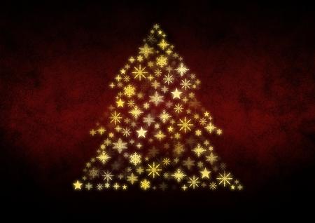 Digital composite of Snowflake Christmas tree pattern shape Stock Photo