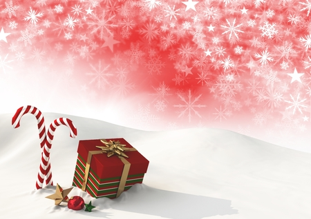 Digital composite of Christmas gift and Snowflake Christmas pattern and blank space