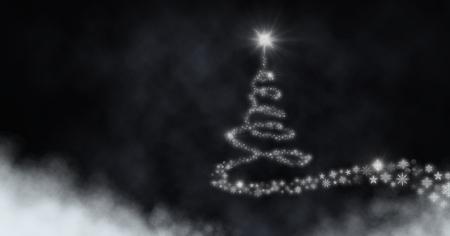 Digital composite of Snowflake Christmas tree pattern shape glowing