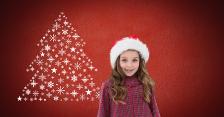 Digital composite of Girl with Santa hat and Snowflake Christmas tree pattern shape Stock Photo