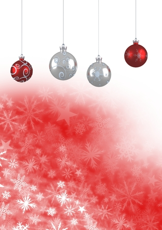 Digital composite of Christmas bauble decorations and Snowflake Christmas pattern and blank space