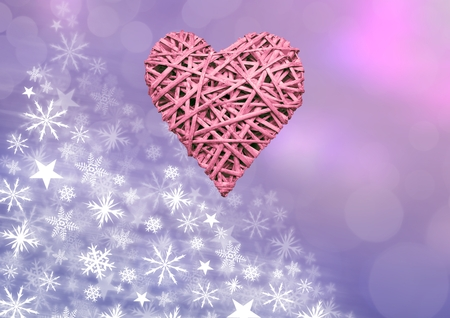 Digital composite of Pink woven and Heart Snowflake Christmas pattern