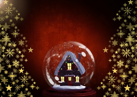 Digital composite of Snow globe house and Snowflake Christmas tree pattern shape Stock Photo