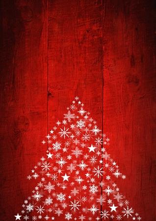 Digital composite of Snowflake Christmas tree pattern on wood